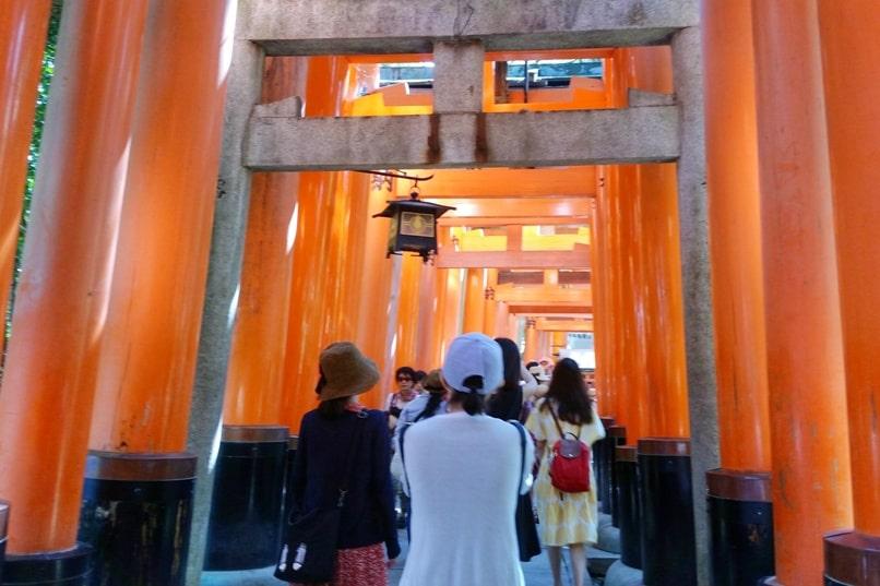 Fushimi inari shrine hike - torii gate walk with tourist crowd time. Backpacking Kyoto Japan