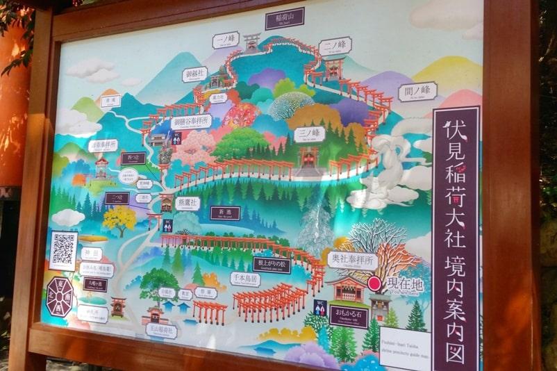 Fushimi inari shrine hiking trail map to Mt Inari with torii gates, Kyoto. Backpacking Kyoto Japan