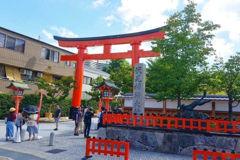 Fushimi inari shrine from Inari JR train station - first torii gate. Backpacking Kyoto Japan