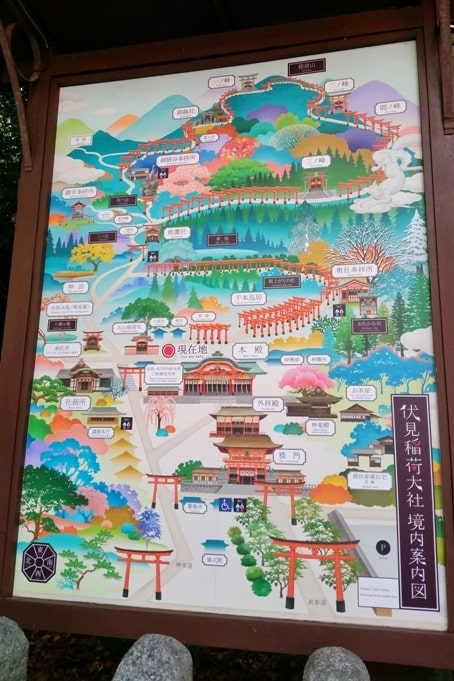Fushimi inari shrine hiking trail map with 5,000 torii gates, Kyoto. Backpacking Kyoto Japan