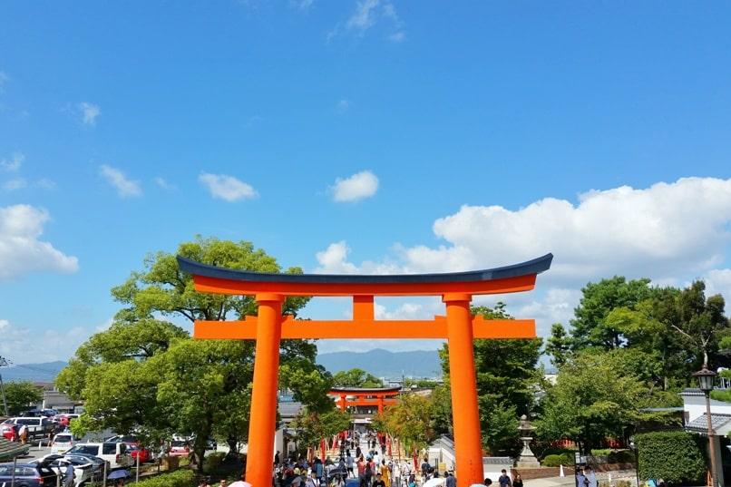 Fushimi inari shrine - first torii gates near entry. Backpacking Kyoto Japan