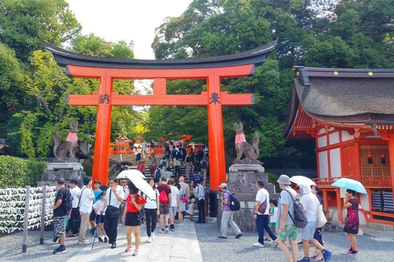 Fushimi inari taisha shrine visit - torii gate near hiking trail. Backpacking Kyoto Japan