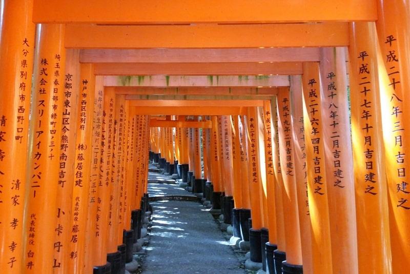 Fushimi inari taisha shrine - walk through torii gates in Kyoto. Backpacking Japan travel blog