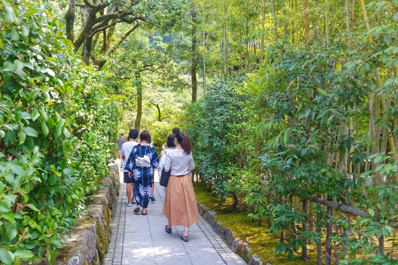 Ginkakuji temple tea garden - bamboo grove walk. Backpacking Kyoto Japan