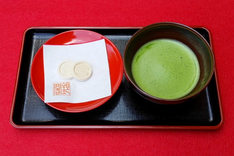 Ginkakuji temple tea garden and tea room for matcha green tea experience - matcha and Japanese sweets. Backpacking Kyoto Japan