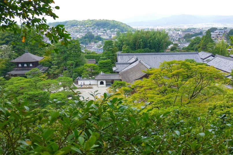 Ginkakuji temple tea garden - City views, temple views, sand garden views, from trail summit. Backpacking Kyoto Japan