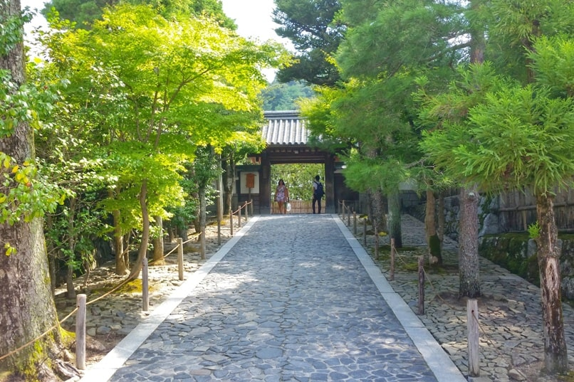 Visit to Ginkakuji Temple. Entry walking path. Backpacking Kyoto Japan