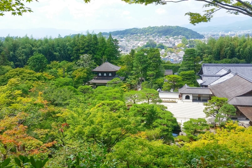 Visit to Ginkakuji Temple with Japanese gardens nature trail summit with city views. Backpacking Kyoto Japan