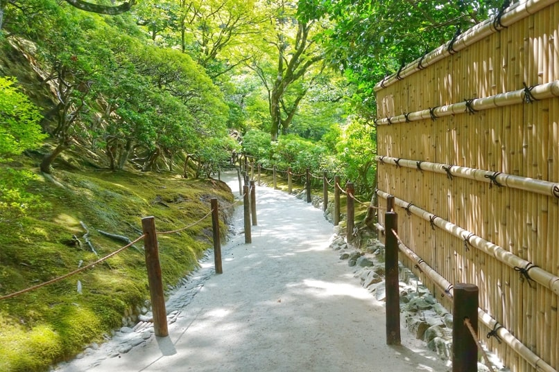 Visit to Ginkakuji Temple with Japanese gardens nature trail. Backpacking Kyoto Japan