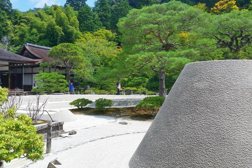 Visit to Ginkakuji Temple. Sand garden with Japanese gardens. Backpacking Kyoto Japan