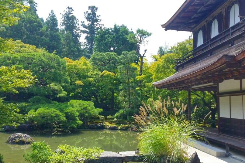 Visit to Ginkakuji Temple with Japanese gardens. unesco world heritage site. Backpacking Kyoto Japan