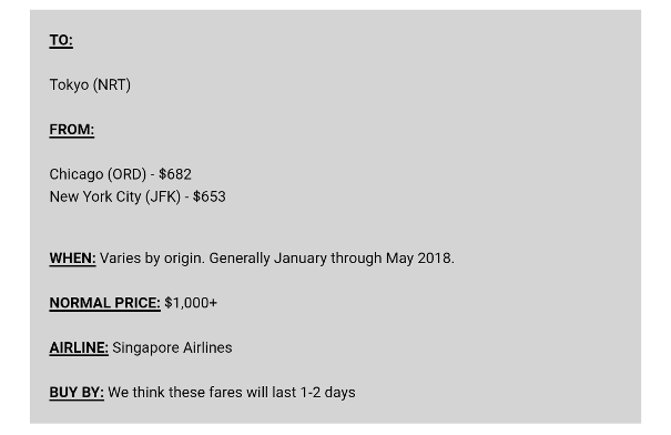How to find cheap flights to Japan: Flight deals to Tokyo (Narita NRT). From Chicago ORD, from NYC New York JFK. Singapore airlines. January, February, March, April, May. Backpacking Japan on a budget