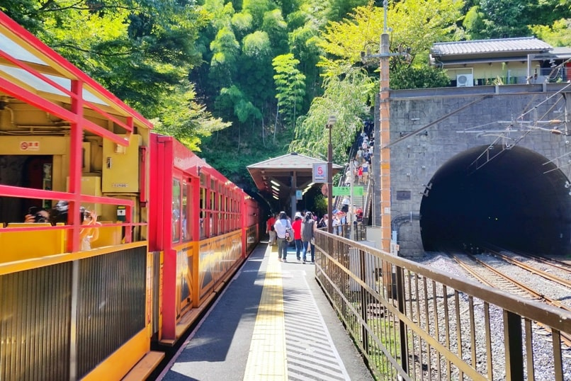 Hozugawa river rafting in Arashiyama Kyoto - to Arashiyama torokko station for sagano scenic railway train. Backpacking Kyoto Japan
