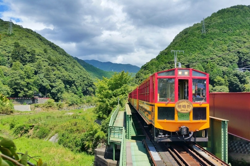 Hozugawa river rafting in Arashiyama Kyoto - near Kameoka torokko station for sagano scenic railway train. Backpacking Kyoto Japan