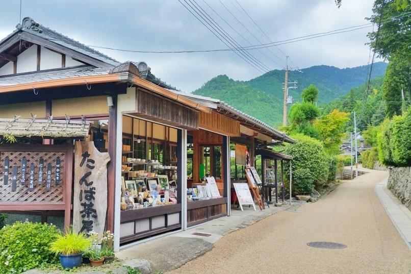 Jakko-in from Sanzen-in walk through Ohara village streets, souvenir shop. Kyoto day trip. Backpacking Kyoto Japan
