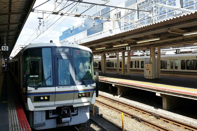 Kyoto station to Fushimi inari train - JR train station. Backpacking Kyoto Japan