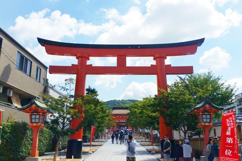 Kyoto station to Fushimi inari train station to shrine entry walk. Backpacking Kyoto Japan