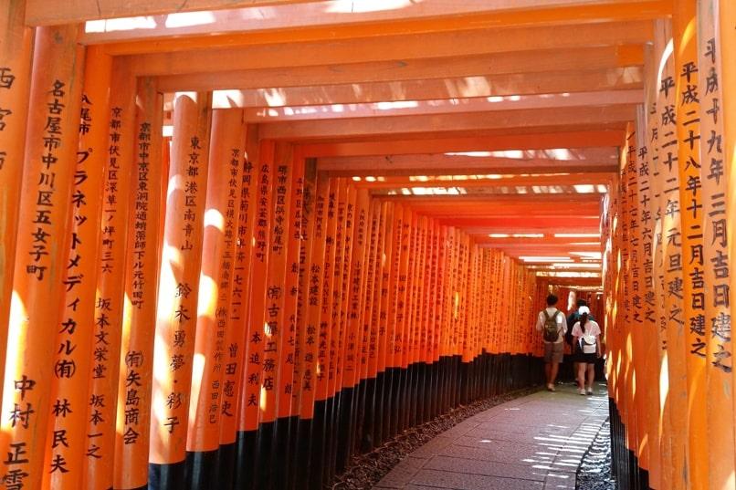 Kyoto station to Fushimi inari train station to shrine trail. Backpacking Kyoto Japan
