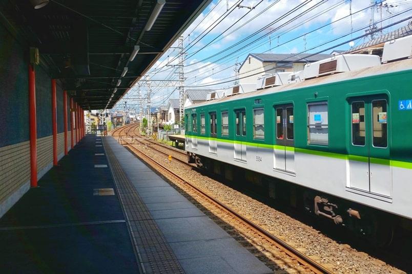 Kyoto station to Fushimi inari train. Fushimi Inari Keihan train station. Backpacking Kyoto Japan