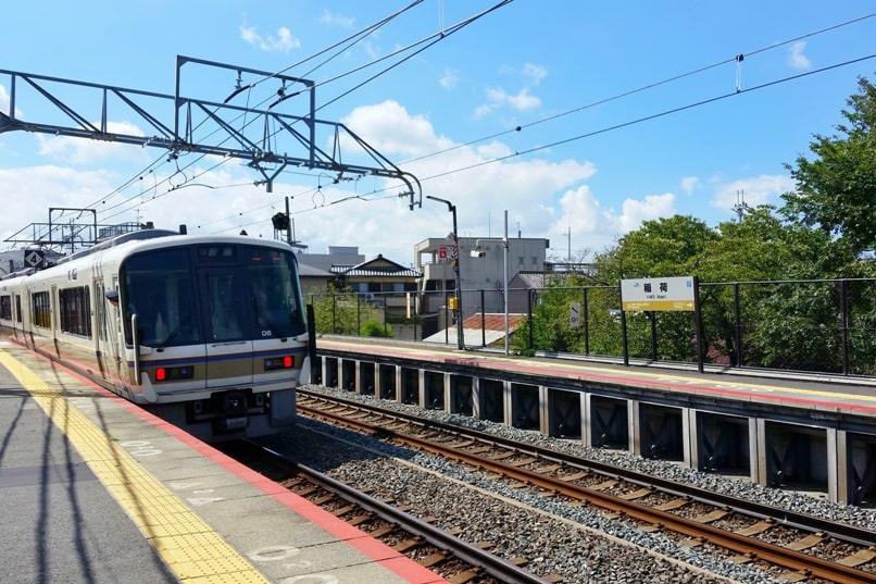 Kyoto station to Fushimi inari train. Inari JR train station. Backpacking Kyoto Japan