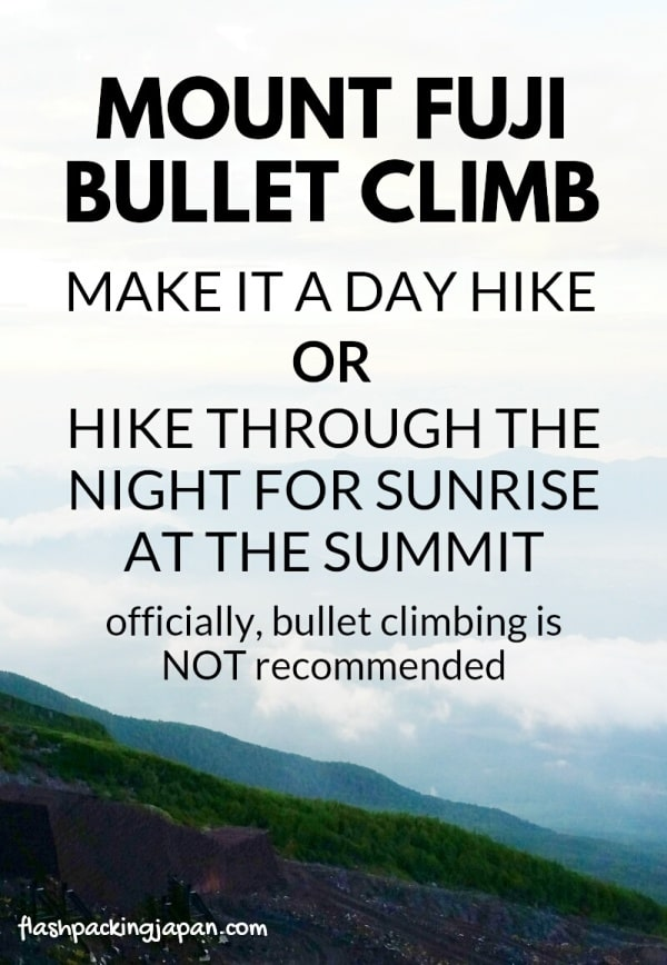 Mt fuji bullet climb - Day trip to Mount Fuji from Tokyo possible?! One day hike or overnight hiking for sunrise at trail summit instead of mountain hut. Hiking in Japan. Backpacking Japan travel blog.