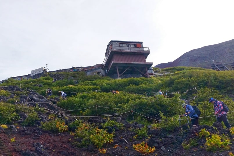 Mt Fuji mountain huts - Yoshida trail from 5th station to 7th station. Climbing Mt Fuji. Hiking in Japan.