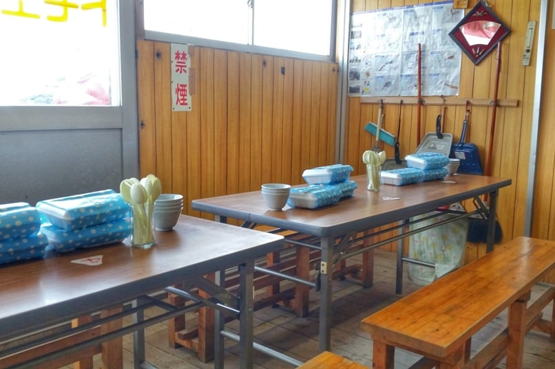 Mt Fuji mountain huts with meals - breakfast food. Climbing Mount Fuji. Hiking in Japan.