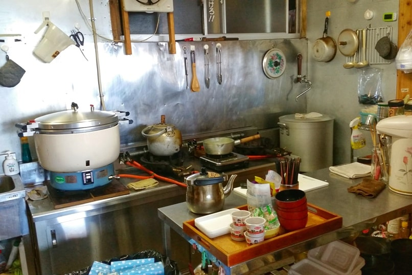 Mt Fuji mountain huts - kitchen to make food. Climbing Mount Fuji. Hiking in Japan.