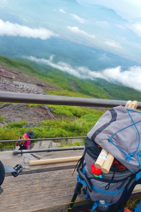 Mt Fuji mountain huts - walking stick for flight, checked luggage, airlines. Hiking in Japan.