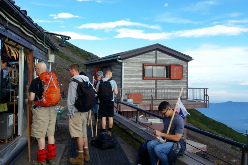 Mt Fuji mountain huts - walking stick stamp at Mt Fuji mountain hut. Hiking in Japan.