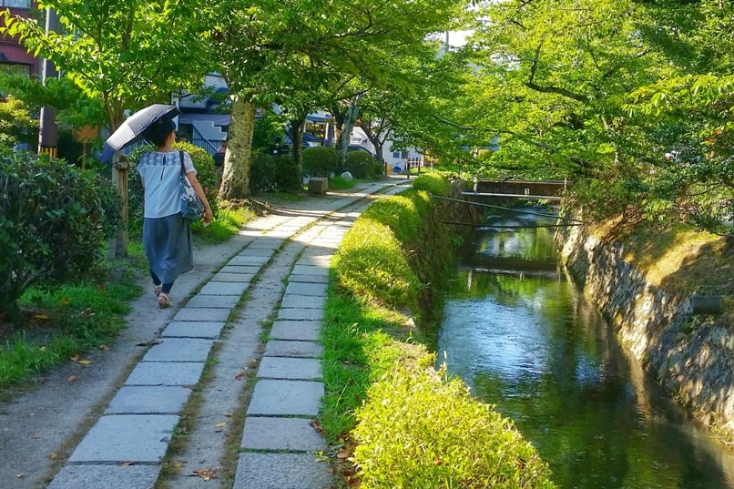 Philosopher's path walk - path of philosophy aka testugaku no michi, with cherry blossom trees, temples, shrines, river culture walk. Backpacking Kyoto Japan
