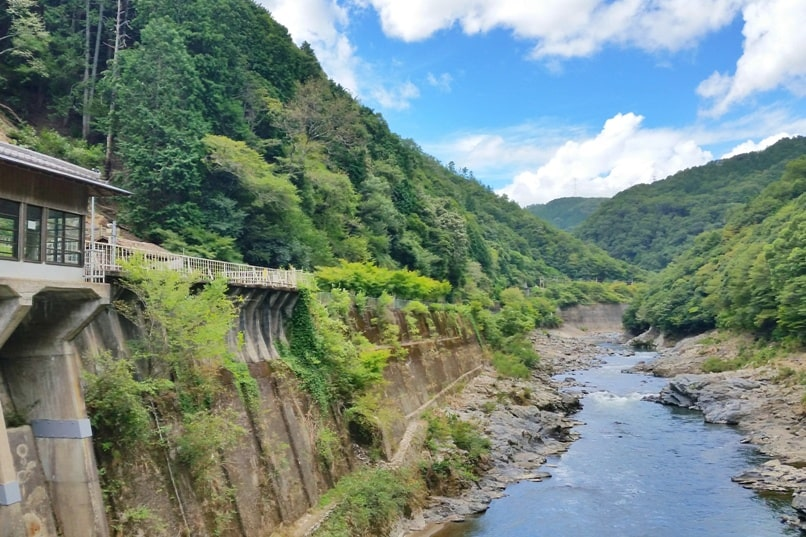 Sagano scenic railway train ride, Kyoto tourist train for sightseeing on Hozugawa River. One day in Arashiyama and Sagano, Kyoto. Backpacking Japan