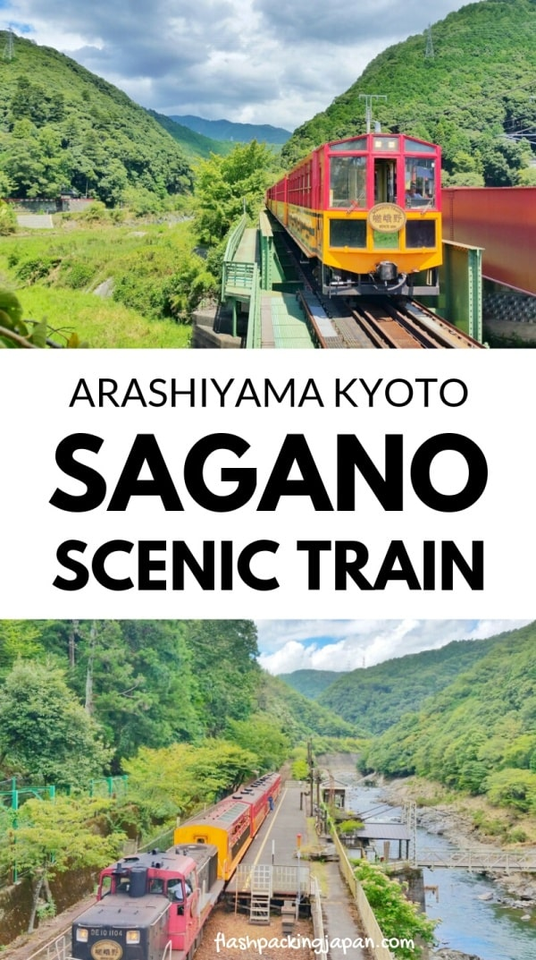 Sagano scenic railway train - Kyoto tourist train for sightseeing on Hozugawa River. One day in Arashiyama and Sagano, Kyoto. Backpacking Japan travel blog