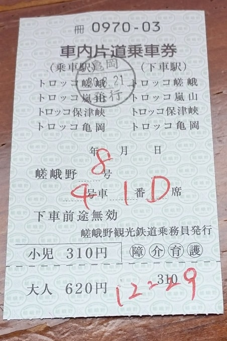 Sagano scenic railway train ticket seating. One day in Arashiyama and Sagano, Kyoto. Backpacking Japan