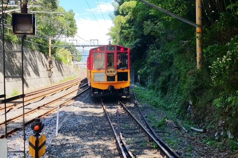 Sagano scenic railway train - start at arashiyama torokko station or saga torokko station. One day in Arashiyama and Sagano, Kyoto. Backpacking Japan