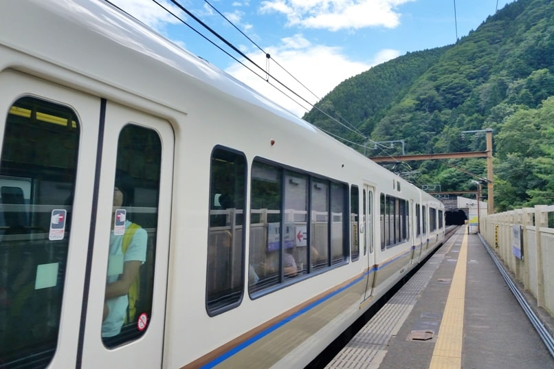 Sagano scenic railway train. How to get there with JR pass on JR train from Kyoto station. One day in Arashiyama and Sagano, Kyoto. Backpacking Japan