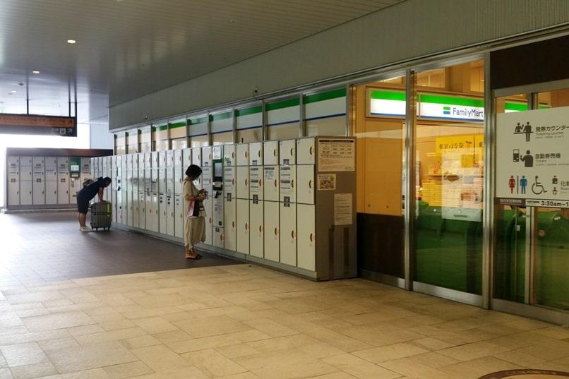 Shinjuku to Mt Fuji 5th station bus: Shinjuku bus terminal - coin lockers for luggage storage at shinjuku bus station. Climbing Mount Fuji from Tokyo. Hiking Japan