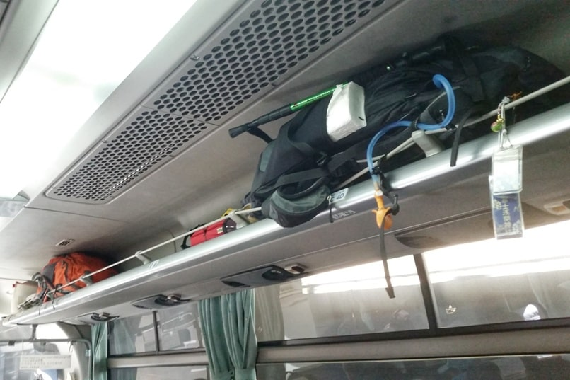 Shinjuku to Mt Fuji 5th station bus: luggage storage for backpack. Climbing Mount Fuji from Tokyo. Hiking Japan