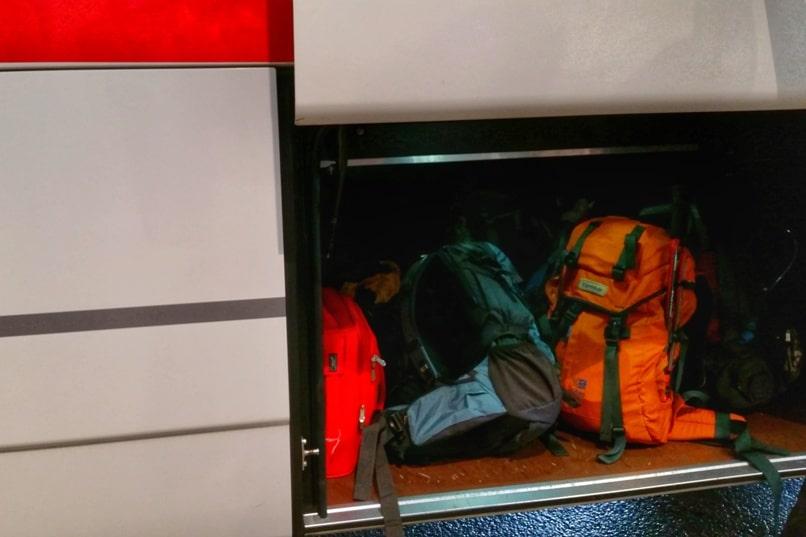 Shinjuku to Mt Fuji 5th station bus: luggage storage for big backpack. Climbing Mount Fuji from Tokyo. Hiking Japan