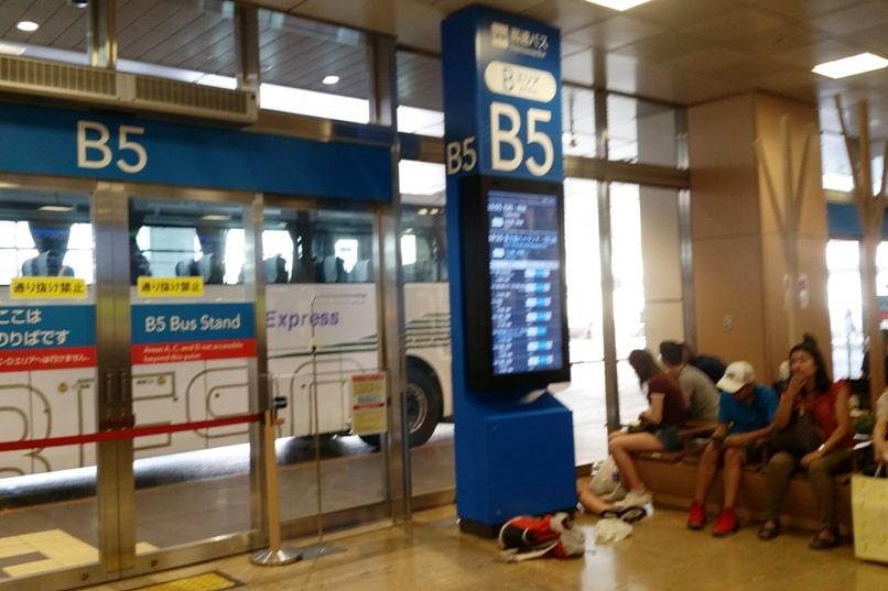 Shinjuku to Mt Fuji 5th station bus: Shinjuku bus terminal - bus timings for bus Mt Fuji in waiting area. Climbing Mount Fuji from Tokyo. Hiking Japan