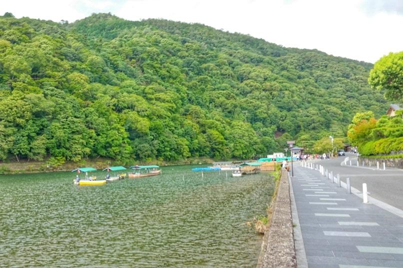Togetsukyo bridge - Hozugawa boat ride cruise near bridge. One day in Arashiyama and Sagano. Backpacking Kyoto Japan