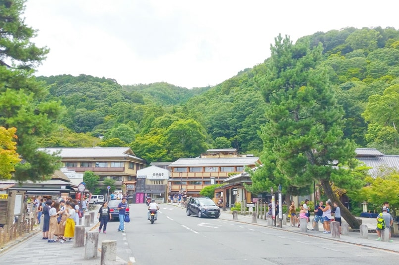 Togetsukyo bridge - Arashiyama streets area near bridge to monkey park. One day in Arashiyama and Sagano. Backpacking Kyoto Japan
