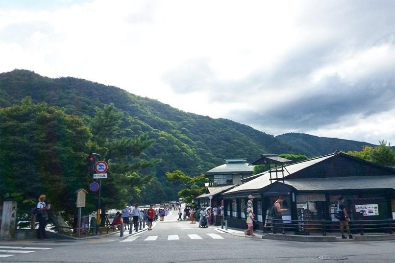 Togetsukyo bridge - Arashiyama streets area near bridge. One day in Arashiyama and Sagano. Backpacking Kyoto Japan
