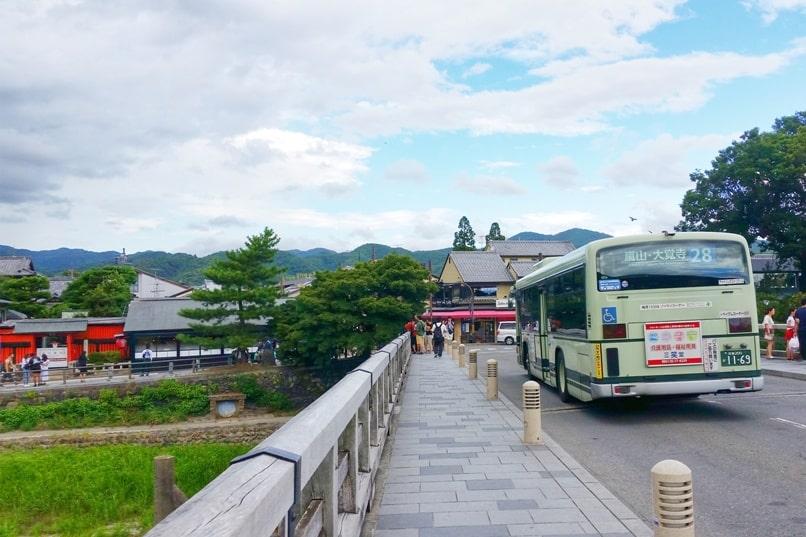 Walk across Togetsukyo bridge. Bus from Arashiyama - how to get to arashiyama from kyoto station. One day in Arashiyama and Sagano. Backpacking Kyoto Japan