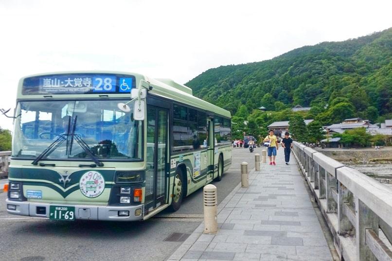 Walk across Togetsukyo bridge. Bus to Arashiyama - how to get to arashiyama from kyoto station. One day in Arashiyama and Sagano. Backpacking Kyoto Japan