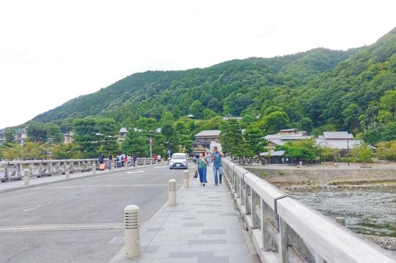Walk across Togetsukyo bridge. From Tenryuji temple and from Arashiyama bamboo forest to monkey park. One day in Arashiyama and Sagano. Backpacking Kyoto Japan