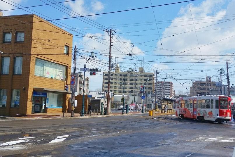 Daisan zaka slope near Jujigai station tram streetcar. Backpacking Hokkaido Japan travel blog