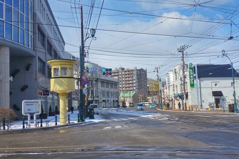 Daisan zaka slope near streetcar switch tower. Backpacking Hokkaido Japan travel blog