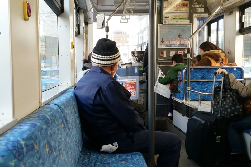 Hakodate tram seating. Backpacking Hokkaido Japan
