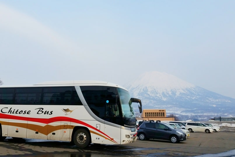 Sapporo Chitose Airport to Niseko bus - arrival time at grand hirafu welcome center. Backpacking Hokkaido Japan winter ski and snowboarding